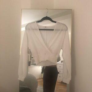 NWT Aritzia cropped long sleeve blouse